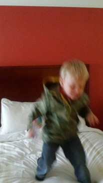 Because the first thing you do in a fancy hotel is jump on the bed